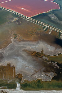Aerial view of Salin de Giraud, Camargue, France, July.  -  Jean E. Roche