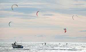 Kite surfing, Beauduc, Camargue, France, May 2014.  -  Jean E. Roche