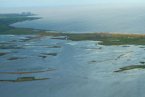 Aerial view of Steart Marshes Wildfowl and Wetland Trust Nature Reserve with Hinkley Point nuclear power station in background, Somerset, UK, February 2015. This area has been allowed to flood by the...  -  David  Woodfall