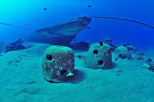 Concrete reef balls and boat sunk to build an artificial reef, Philippines, Sulu Sea. August 2014.  -  Pascal Kobeh