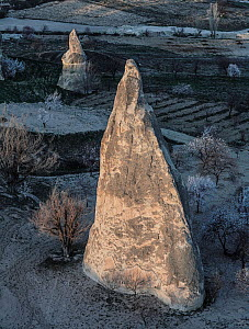 Aerial view of large rock formations, Goreme, Cappadocia, Turkey, March.  -  Pascal  Tordeux