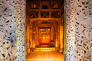 Gol stave church, seen from the doorway, originally from Gol, Hallingdal, but now located in the Norwegian Museum of Cultural History, Bygdoy, Oslo, Norway. May 2007.  -  Ole  Jorgen Liodden