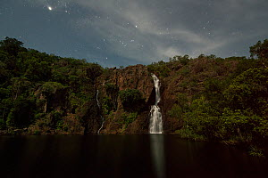 Wangi Falls at night illuminated by moonlight, Litchfield National Park, Northern Territory, Australia. December 2012.  -  Jurgen Freund