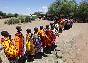 Masai people queuing to vote on election day, Kenya, March 2013.  -  Pal Hermansen