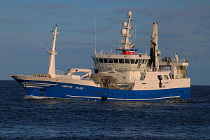 Pelagic fishing vessel 'Lunar Bow' approaching harbour, October 2014.  All non-editorial uses must be cleared individually. - Philip  Stephen