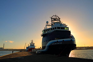 Oil rig supply vessels tied up alngside at Peterhead breakwater, September 2014.  All non-editorial uses must be cleared individually.  -  Philip  Stephen