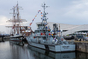 Border patrol vessel 'HMS Vigilant' and tall ship 'Mercedes' moored in Canning dock during the Liverpool River Festival. Liverpool, Merseyside, England, UK. June 2014. - Norma  Brazendale