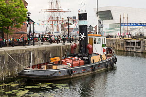 Steam tug 'Kerne', moored in Canning half tide dock during the Liverpool River Festival. Liverpool, Merseyside, England UK. June 2014 - Norma  Brazendale