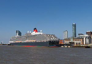 Cruise liner 'Queen Victoria' at  the Liverpool cruise liner terminal. Liverpool, Merseyside, England, UK. May 2014. - Norma  Brazendale