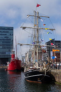 Ships moored in Canning half tide dock during River Festival 2014. Liverpool, Merseyside, England, UK. June 2014 - Norma  Brazendale