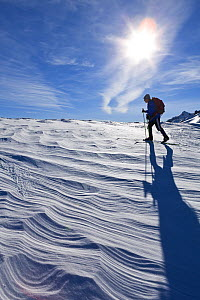 Cross country skier, Crater Lake National Park, Oregon, USA. January 2015. Model released.  -  Kirkendall-Spring