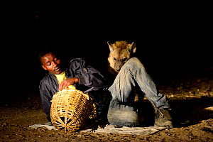 Man feeding Hyaenas (Crocuta crocuta) at night in Harar City, this has been a tradition for several centuries, and has now become a show for tourists. Ethiopia, November 2014  -  Enrique Lopez-Tapia