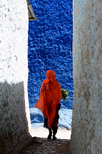 Muslim woman walking down colourful narrow streets, Harar, an important holy city in the Islamic faith, UNESCO World Heritage Site. Ethiopia, November 2014  -  Enrique Lopez-Tapia