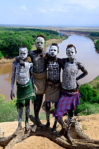 Karo boys with decorative skin painting.Territory of the Karo tribe. Omo river. Ethiopia, November 2014  -  Enrique Lopez-Tapia