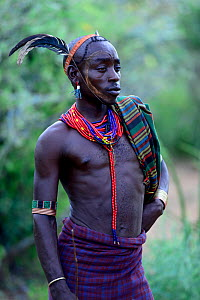 Man at the Jumping of the bulls Hamer ceremony. This Hamer ceremony is a a right of passage into manhood for Hamer boys. Ethiopia, November 2014  -  Enrique Lopez-Tapia