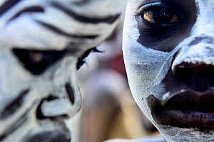 Karo boys with decorative skin painting, close up portrait, Karo tribe, Omo river, Ethiopia, November 2014  -  Enrique Lopez-Tapia