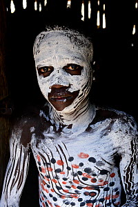 Karo boy with decorative skin painting. Karo tribe, Omo river, Ethiopia, November 2014  -  Enrique Lopez-Tapia