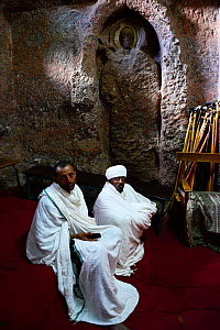 Christian priests. Bet Medhane Alem Complex (part of the northwestern group of churches in Lalibela). UNESCO World Heritage Site. Lalibela. Ethiopia, December 2014. - Enrique Lopez-Tapia