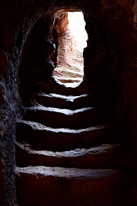 Stairs in an access tunnel to the churches of Lalibela. UNESCO World Heritage Site. Ethiopia, December 2014.  -  Enrique Lopez-Tapia