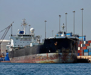 Empty oil tanker docked at Marsaxlokk, Malta. All non-editorial uses must be cleared individually. - Angelo  Giampiccolo