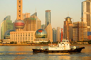 Ship navigating the Huangpu River, Shanghai, China, September 2009.  All non-editorial uses must be cleared individually.  -  Enrique Lopez-Tapia