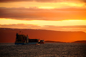 Cargo ship sailing through the Beagle Channel at sunset. Tierra del Fuego, Ushuaia. Argentina. All non-editorial uses must be cleared individually.  -  Enrique Lopez-Tapia