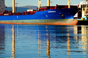 Cargo ship with reflection, in the port of Ushuaia. Beagle Channel, Tierra del Fuego, Argentina. All non-editorial uses must be cleared individually.  -  Enrique Lopez-Tapia