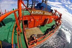 High angle view of the deck of the icebreaker 'Aurora Australis', Antarctica. All non-editorial uses must be cleared individually. - Fred  Olivier