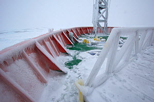 Frozen deck of the icebreaker 'Aurora Australis', Antarctica. All non-editorial uses must be cleared individually. - Fred  Olivier