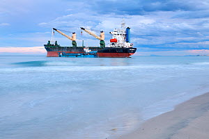 Container ship stranded on El Saler Beach, Valencia, Spain. All non-editorial uses must be cleared individually.  -  Jose B.  Ruiz