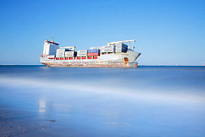 Stranded cargo ship, El Saler Beach, Valencia, Spain. All non-editorial uses must be cleared individually. - Jose B.  Ruiz