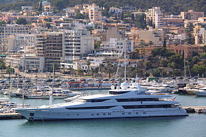 Super yacht moored in Palma Harbour, Majorca, Spain. All non-editorial uses must be cleared individually.  -  Philip  Stephen