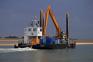 Vessel transporting machinery for the offshore turbine industry, Norfolk, UK, August 2013. All non-editorial uses must be cleared individually.  -  Robin Chittenden