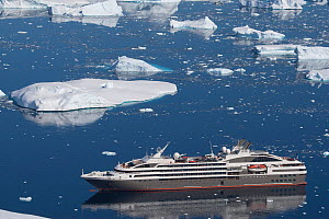High angle view of  'Le Boreal' passenger vessel, from vantage point at Port Charcot, Booth Island, Antarctic Peninsula. February 2012.  All non-editorial uses must be cleared individually.  -  Rick Price