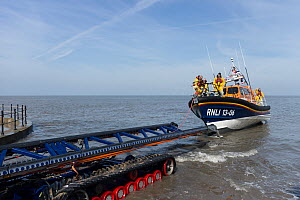 New lifeboat RNLB Edmund Hawthorn Micklewood, returning to the Hoylake lifeboat station, after it's official launch and naming ceremony. Hoylake, Wirral, Merseyside, England UK. March 2015 All non edi... - Norma  Brazendale
