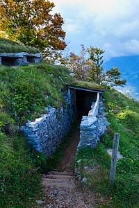 Mengore Hill Museum, the cleaned and restored remains of the first Austro-Hungarian line of defense from the First World War,. Walk of Peace, Soca Valley, Julian Alps, Slovenia, October 2014.  -  Juan  Carlos Munoz