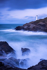 Trevose Lighthouse at dusk, long exposure at high tide, Trevose, Cornwall, UK. January 2015. - Ross Hoddinott