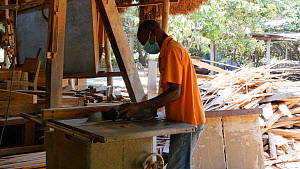 Man working in a workshop in a sustainable timber yard, Mezimbite Sustainable Forest Camp, Mozambique, 2014. - Steve O. Taylor (GHF)