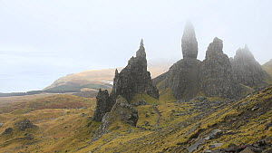 Timelapse of Old Man of Storr in winter, Trotternish Ridge, Isle of Skye, Inner Hebrides, Scotland, UK, March 2014.  -  SCOTLAND: The Big Picture