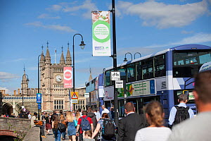 Banners for Bristol European Green Capital 2015 in front of Bristol Temple Meads train station, Bristol, England, UK. August 2015.  -  Tom  Gilks