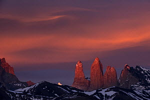 Three granite peaks of Paine mountain range, Torres del Paine National Park, Patagonia, Chile. - Pete Oxford