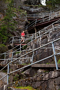 Hiker on the twisty trail up Beacon Rock in Beacon Rock State Park, part of  the Columbia Gorge National Scenic Area, Washington, USA, April 2015. Model released.  -  Kirkendall-Spring