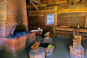 Detail of the blacksmith shop in Fort Nisqually, a replica of a Hudson Bay Outpost in Point Defiance Park, Tacoma, Washington, USA, April 2015. - Kirkendall-Spring
