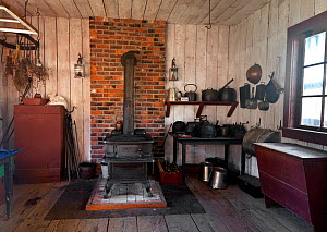 Kitchen at Fort Nisqually, a replica of a Hudson Bay Outpost in Point Defiance Park, Tacoma, Washington, USA, April. - Kirkendall-Spring
