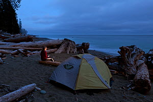Woman at campsite at Tsocowis Creek along the West Coast Trail in Pacific Rim National Park Reserve, Vancouver Island, British Columbia, Canada, May 2015. Model released. - Kirkendall-Spring