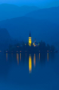 Assumption of Mary Pilgrimage Church, in twilight, reflected in Lake Bled, Bled, Slovenia, October 2014.  -  Juan  Carlos Munoz