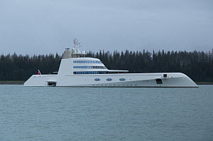 Russian 390 foot yacht 'A' anchored, Alaska, America, August 2015.  -  Charlie  Summers