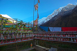 Prayer flags at  shrine with Tormas, sculptures made with Tsampa and Yak Butter, with Mount Gyala Peri and Mount  Jialabaili, Yarlung Zangbo Grand Canyon National Park, Nyingchi Prefecture, Tibet, Chi... - Dong Lei