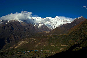 Mount  Namjagbarwa covered in snow,  Yarlung Zangbo Grand Canyon National Park, Nyingchi Prefecture, Tibet, China, October.  -  Dong Lei