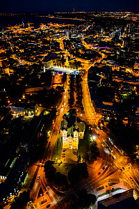 Aerial view of Tallinn, the Capital of Estonia at night, with Charles' Church in the foreground, Estonia, October 2013.  -  Sven  Zacek